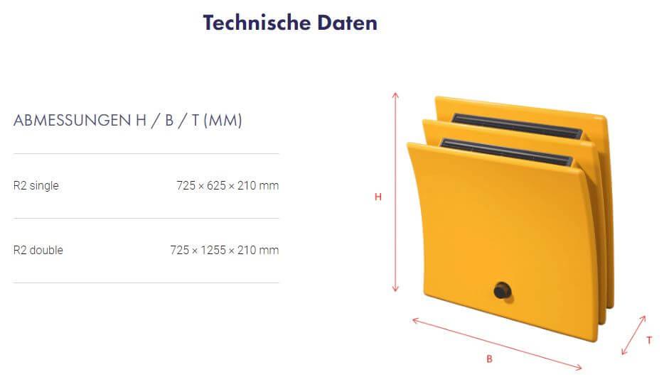 Abmessungen Design Radiator R2 von TomTon